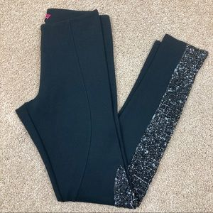 Alice + Olivia Black Sequin Sparkle Legging Pants